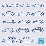 Linear cars icons set. Different bodies of cars Royalty Free Stock Photography