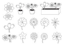 Linear cartoon flowers. Vector illustration set with different flower styles and different flowerpot styles royalty free illustration