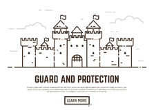 Linear castle illustration Royalty Free Stock Photo