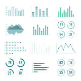 Linear charts, graphs and progress bar. Vector line diagram. Infographics ellements Stock Photography