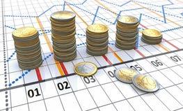 Linear charts snd coins Stock Photos