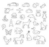 Linear Children's Objects Royalty Free Stock Image