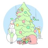 Linear Christmas card. Teamwork decorating Christmas tree in min royalty free illustration