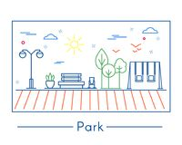 Linear city and park design elements stock illustration