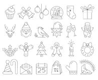 Linear collection of Christmas icons. Big collection of Christmas icons. Christmas symbols including snowman, Santa Claus, presents, Christmas tree. Vector icons royalty free illustration