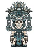 Linear color drawing: decorative image of an Indian deity. Motives of art of Indians Maya. Vector illustration: Linear color drawing: decorative image of an stock illustration