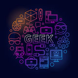 Linear colorful geek illustration Royalty Free Stock Photo