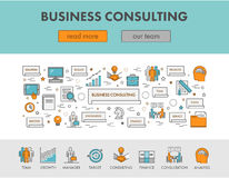 Linear concept web banner and icons for business consulting. Vector design landing page for app development Stock Image