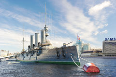 Linear cruiser Aurora, the symbol of the October revolution in R. Saint-Petersburg, Russia August 10, 2016: Linier Cruiser Aurora after the repair. in St stock image