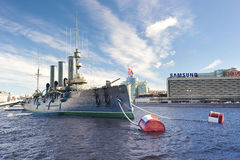 Linear cruiser Aurora, the symbol of the October revolution in R Royalty Free Stock Photography