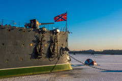 Linear cruiser Aurora, the symbol of the October revolution, Sai Royalty Free Stock Images