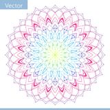 Linear decorative mandala. Rainbow gradient colors vector illustration
