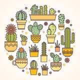Linear design, potted cactus. elements of a corporate logo Royalty Free Stock Photography
