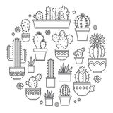 Linear design, potted cactus. elements of a corporate logo. Vector Royalty Free Stock Images