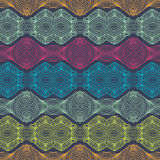 Linear detailed ethnic pattern with bright stripes stock illustration