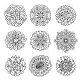 Linear doodle flower set Royalty Free Stock Photos