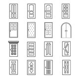 Linear door icons. Thin outline line doors of elevator and entrance, metro and saloon vector doors. Linear door icons. Thin outline line doors of elevator and stock illustration