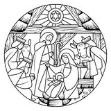 Linear drawing of Birth of Jesus Christ scene in circle shape Royalty Free Stock Photo