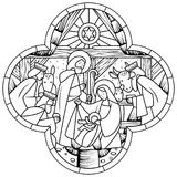 Linear drawing of Birth of Jesus Christ scene in cross shape. Birth of Jesus Christ scene in cross shape. Linear drawing for coloring book. Vector illustration Royalty Free Stock Photos