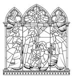 Linear drawing of Birth of Jesus Christ scene in gothic frame stock illustration