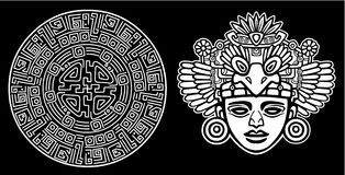 Linear drawing: decorative image of an ancient Indian deity. Royalty Free Stock Photos