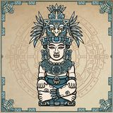Linear drawing: decorative image of an ancient Indian deity. Stock Photo