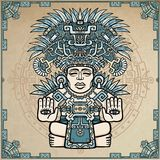 Linear drawing: decorative image of an ancient Indian deity. Royalty Free Stock Photo