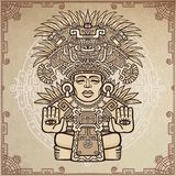 Linear drawing: decorative image of an ancient Indian deity. Stock Image