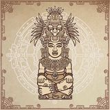 Linear drawing: decorative image of an ancient Indian deity. Stock Photos