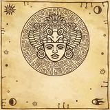 Linear drawing: decorative image of an ancient Indian deity. Space symbols. Stock Photos