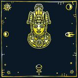 Linear drawing: decorative image of an ancient Indian deity. Royalty Free Stock Image