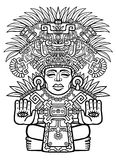 Linear drawing: decorative image of an Indian deity. Stock Image