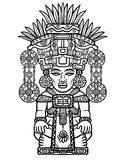 Linear drawing: decorative image of an Indian deity. Motives of art of Indians Maya.  Stock Images