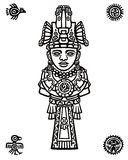 Linear drawing: decorative image of the person. Motives of art of Indians Maya. Symbols of birds. Royalty Free Stock Photos