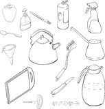 Linear drawing of pots and pans Royalty Free Stock Photos