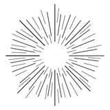 Linear drawing of rays of the sun in vintage style. Vector illustration Royalty Free Stock Photography