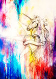 Linear drawing of unicorn with heart shape on abstract background. Royalty Free Stock Photography
