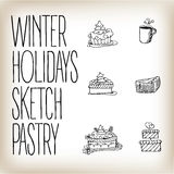 Linear drawn holidays cakes icons. Linear hand drawn vector holidays cakes icons. Tea and pastry menu decorative elements Royalty Free Stock Images