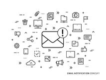Linear e-mail notification note vector illustration. Linear e-mail notification mail notice, advice, note vector illustration. Mail notice envelope Royalty Free Stock Photos
