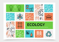 Linear Ecology Infographic Template. With bulbs barrel drilling rig recycle sun plug socket fire battery lightnings solar panel icons vector illustration Stock Photos