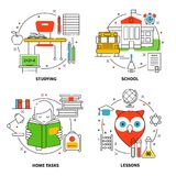 Linear Education Icons Set Royalty Free Stock Photography