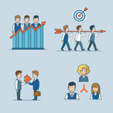 Linear flat art business people concept icon vecto. Linear flat line art style business people concept icon set. Team efficiency report teamwork target Royalty Free Stock Image