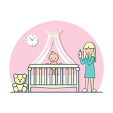 Linear Flat baby cradle cot mom milk bottle vector. Linear Flat baby in cradle cot and mom with nipple milk bottle vector illustration. Casual life parenting Royalty Free Stock Photography