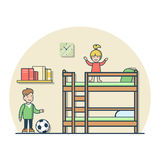 Linear Flat boy girl playing kid room vector boy  Stock Photos