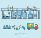 Linear Flat Brewery beer line hop loading pack  Royalty Free Stock Photography