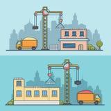 Linear Flat Building Crane construction site vecto Royalty Free Stock Photos
