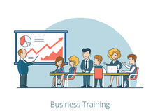 Linear Flat Business Coach Training Stuff vector. Linear Flat Business Coach and people listening in Training room vector illustration. Stuff retraining concept stock illustration