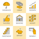 Linear and flat business icons for web. Insurance, credit, growt Stock Images