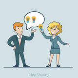 Linear Flat Business Idea sharing people  il. Linear Flat businesswoman taking lamp out of businessmans mind bubble  illustration. Business making, idea sharing Royalty Free Stock Photo