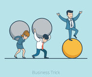 Linear Flat Business man balancing ball woman  Royalty Free Stock Image